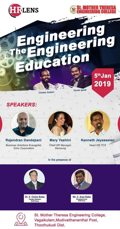 Engineering the Engineering Education – St. Mother Theresa Engineering College – 5th Jan 2019