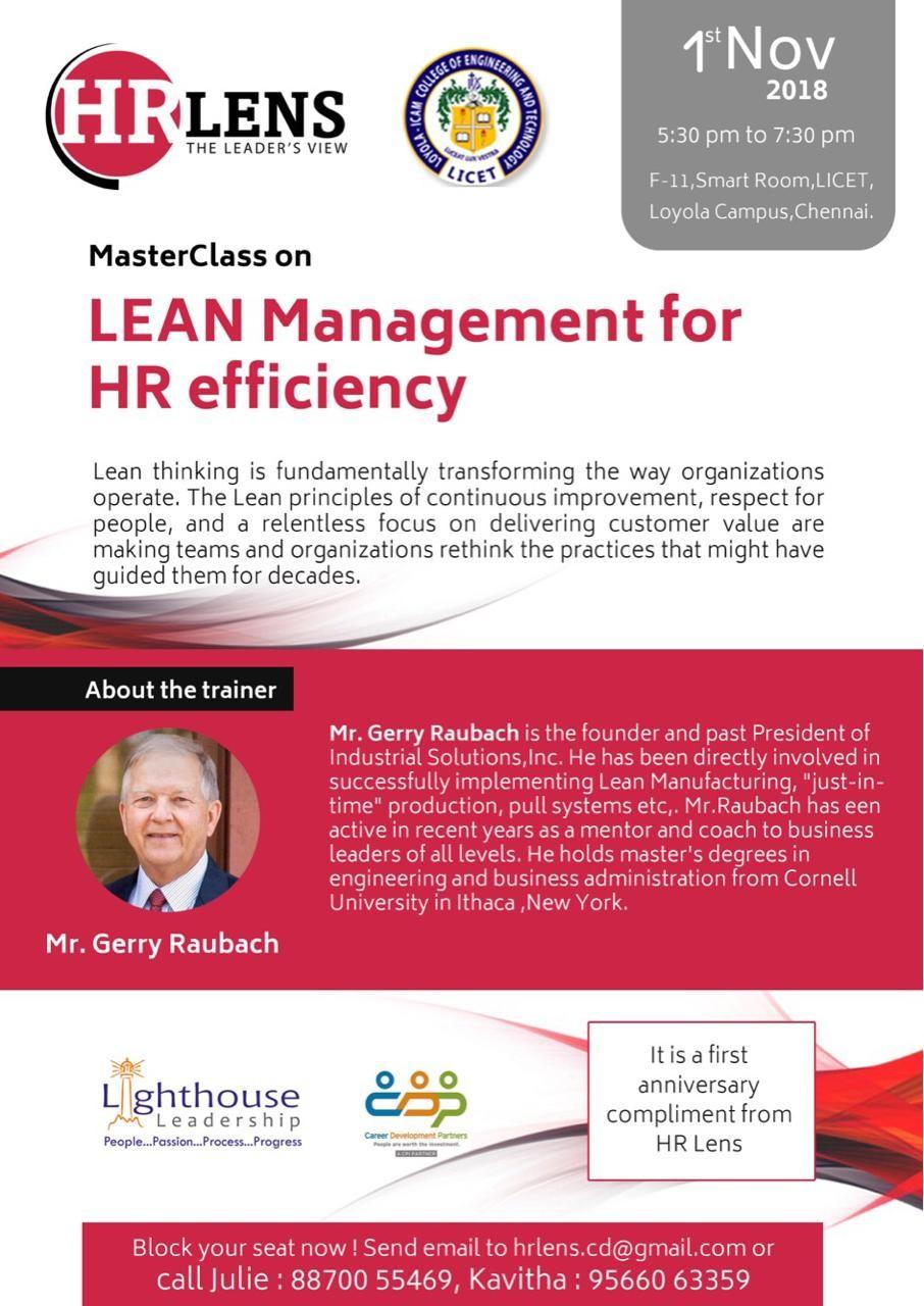 HR Lens – 1st Anniversary – Lean Management for HR Efficiency – 1st Nov' 2018